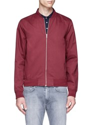 Topman Cotton Twill Bomber Jacket Red