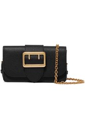 Burberry The Mini Buckle Textured Leather Shoulder Bag Black