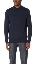 Sunspel Knitted Long Sleeve Sweater Navy
