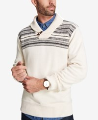 Weatherproof Vintage Men's Shawl Collar Toggle Button Sweater Natural