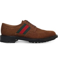 Gucci Berard Bee Suede Brogues Tan