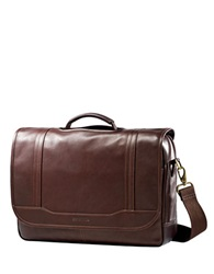 Samsonite Columbian Leather Flapover Briefcase Brown