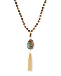 Tigers Eye Pendant Necklace Ocean Stone Elise M.
