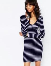 Brave Soul Long Sleeve Jersey Striped Dress With Button Front Navy Cream