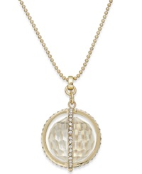 Abs By Allen Schwartz Gold Tone Faceted Ball And Crystal Pave Pendant Necklace