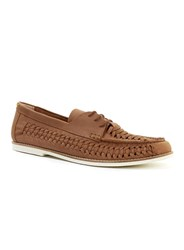 Topman Tan Leather Weave Lace Up Shoes Brown