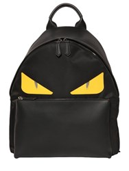 Fendi Monster Leather Patched Nylon Backpack