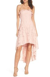 19 Cooper Strapless Lace High Low Dress Peach