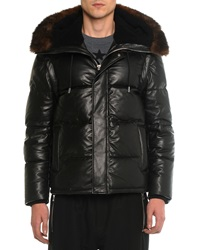 Givenchy Leather Puffer Jacket With Opossum Fur Black