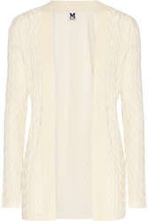 M Missoni Crochet Knit Wool Blend Cardigan White