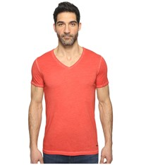Boss Orange Toulouse Fashion Fit Garment Dyed Jersey V Neck Tee Medium Red Men's Short Sleeve Pullover