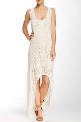 Loveappella Hi Lo Lace Maxi Dress White