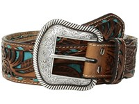 Mandf Western Floral Pierced Embossed With Buckstitch Belt Brown Turquoise Belts