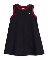 Gucci Sleeveless Web Trim Jersey Shift Dress Size 4 12 Girl's Size 4 Navy
