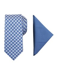 Tallia Orange Barclay Patterned Tie And Pocket Square Set Navy