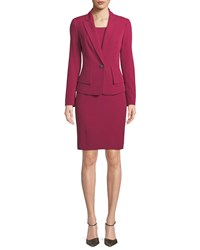 Albert Nipon One Button Crepe Jacket And Sheath Dress Set Pink