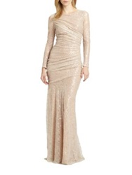 Carmen Marc Valvo Sequined Lace Gown Nude