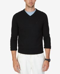 Nautica Men's Sheffield V Neck Sweater True Black