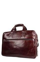 Bosca Men's Double Compartment Leather Briefcase Brown Dark Brown