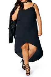 Mblm By Tess Holliday Lace Trim Crepe High Low Slipdress Plus Size Black