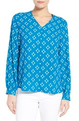 Women's Pleione High Low V Neck Blouse Deep Sea Stamp