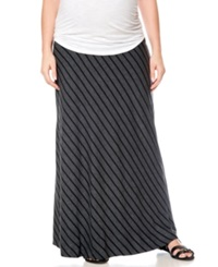 Motherhood Maternity Diagonal Stripe Maxi Skirt Black Grey Stripe