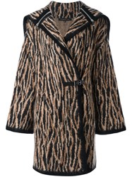 Barbara Bui Knitted Hooded Coat Brown