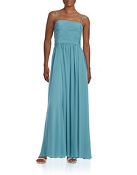 Vera Wang Strapless Ruched Gown Aegean Blue