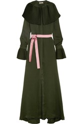 Merchant Archive Pleat Trimmed Silk Crepe De Chine Maxi Dress Dark Green