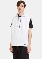 Y 3 Sport Z Oversized Zip Up Hooded Sleeveless Sweater White