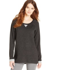 Alfani Terry Lounge Tunic Black Heather