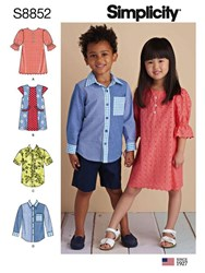 Simplicity Children's Dresses And Shirts Sewing Pattern 8852