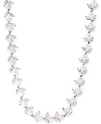 Arabella Cultured Freshwater Pearl 6Mm And Swarovski Zirconia Collar Necklace In Sterling Silver White