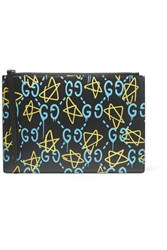 Gucci Printed Leather Pouch Black