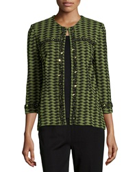 Misook Lina Beaded Trim Printed Jacket Black Green