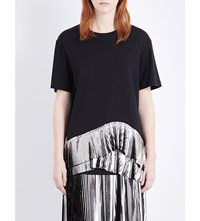 Jil Sander Ruffled Cotton Jersey Top Black