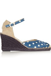 Penelope Chilvers Mary Jane Polka Dot Satin Wedge Espadrilles Blue