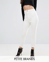 Missguided Petite Vice High Waisted Ankle Grazer Super Stretch Skinny Jean White Blue