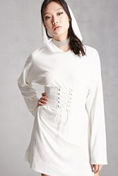 Forever 21 Lace Up Corset Hoodie Dress White White