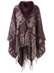 Etro Jacquard Fringed Cape Pink And Purple