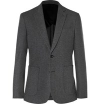 Hardy Amies Charcoal Slim Fit Brushed Cashmere Blazer Charcoal