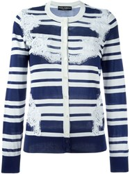 Dolce And Gabbana Lace Striped Cardigan Blue