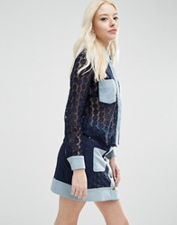 Sister Jane Carnaby Blouse In Crochet With Denim Trims Navy