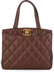 Chanel Vintage Quilted Tote Brown