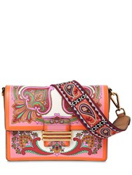 Etro Printed Leather Shoulder Bag Orange