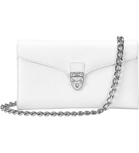 Aspinal Of London Mini Manhattan Lizard Effect Leather Clutch Bag Cream