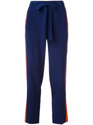 Tory Burch Side Stripe Trousers Blue