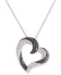 Macy's Diamond Pave Heart Pendant Necklace 1 2 Ct. T.W. In Sterling Silver