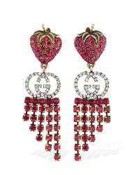 Gucci Gg Red Strawberry Crystal Earrings Ruby