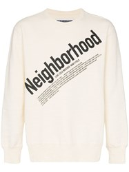Neighborhood Cream Logo Print Cotton Jumper White